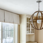 Kitchen window treatments with modern globe light structure